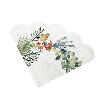 20 Lakeland Evergreen Traditional Christmas Scalloped Paper Napkins alt image 2
