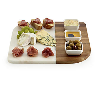 Marble and Acacia Board and 3 Dishes Gift Set