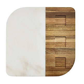 Marble and Acacia Board and 3 Dishes Gift Set alt image 3