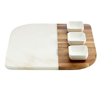 Marble and Acacia Board and 3 Dishes Gift Set alt image 4