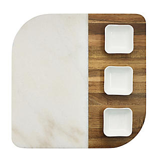 Marble and Acacia Board and 3 Dishes Gift Set alt image 6