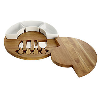 Lakeland Round Cheese Board with Knives Gift Set