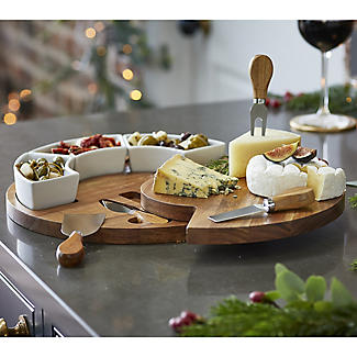 Lakeland Round Cheese Board with Knives Gift Set alt image 2