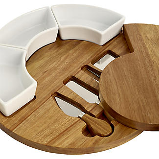 Lakeland Round Cheese Board with Knives Gift Set alt image 5