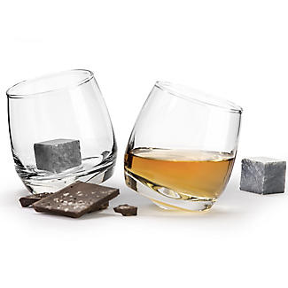 2 Rocking Tumblers with Whisky Stones Gift Set