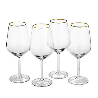 4 Lakeland Gold Rim Wine Glasses 490ml