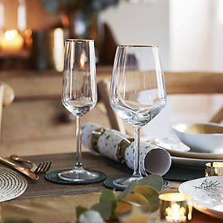 4 Lakeland Gold Rim Wine Glasses 490ml alt image 2