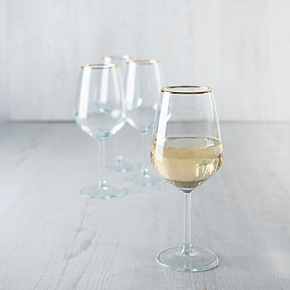 4 Lakeland Gold Rim Wine Glasses 490ml alt image 4
