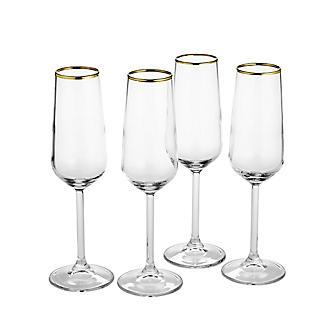 4 Lakeland Gold Rim Champagne Flutes 200ml