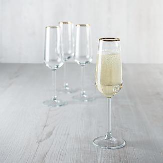 4 Lakeland Gold Rim Champagne Flutes 200ml  alt image 4