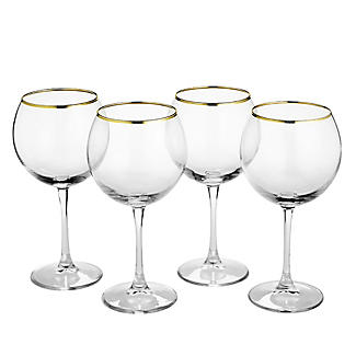 4 Lakeland Gold Rim Gin Balloon Glasses 630ml