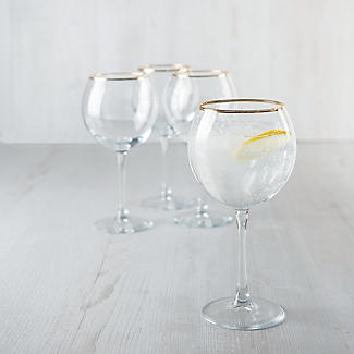 4 Lakeland Gold Rim Gin Balloon Glasses 630ml  alt image 2