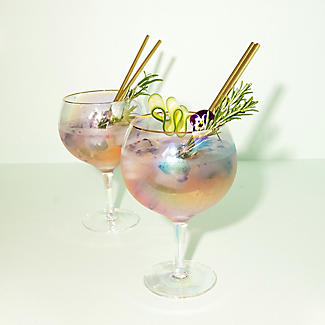 2 Iridescent Gin Balloon Glasses with Gold Rims 750ml  alt image 3