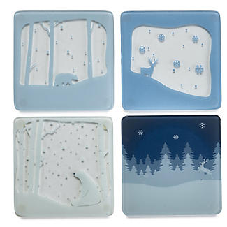 4 Polar Bear Glass Coasters