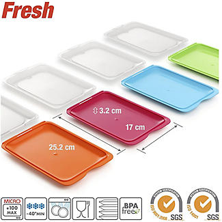 4 Tatay Cold Cut Food Storage Boxes - Coloured Lids alt image 4