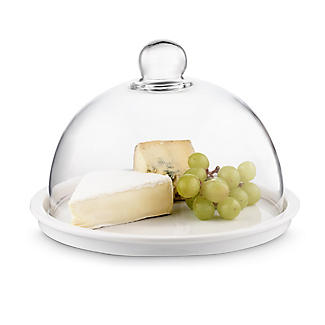 Glass Cheese Dome and Porcelain Platter 24cm Dia.