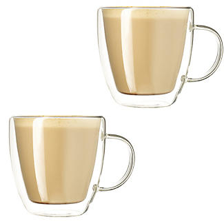 2 Lakeland Double-Walled Glass Coffee Cups 300ml