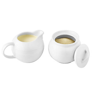 Lakeland White Porcelain Sugar Bowl & Creamer Set