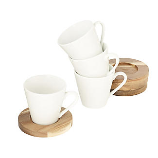 Lakeland 4pc Espresso Cup and Coaster Gift Set