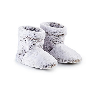 Grey Faux Fur Microwavable Slippers