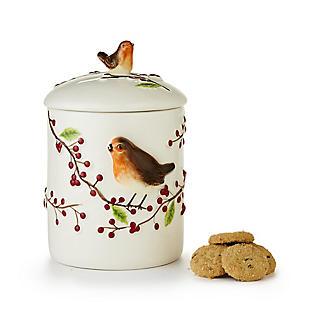 Grandma Wild's Robin & Berries Ceramic Jar with Choc Chip Cookies