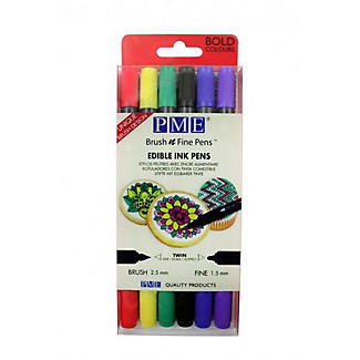 6 PME Brush N Fine Edible Ink Pens with Bold Colours