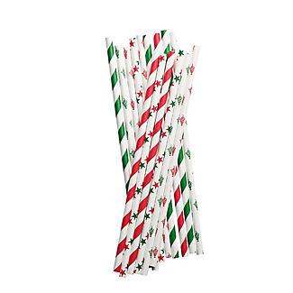 50 Christmas Print Paper Straws
