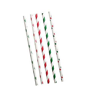 50 Christmas Print Paper Straws alt image 2