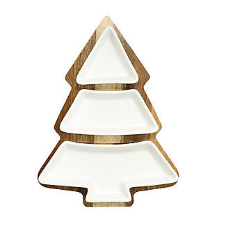 Christmas Tree Serving Platter with Porcelain Dishes