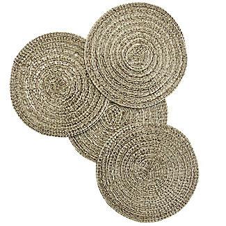 4 Ribbed Metallic Gold Coasters