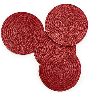 4 Ribbed Red Coasters
