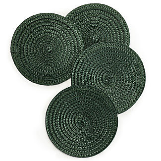 Set of 4 Ribbed Green Coasters alt image 1