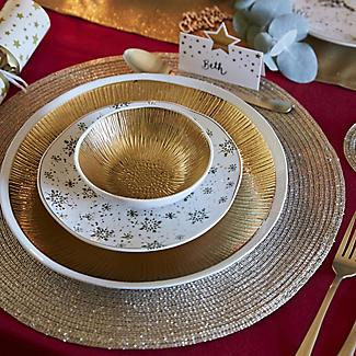 2 Circular Ribbed Metallic Gold Place Mats 38cm Dia alt image 2