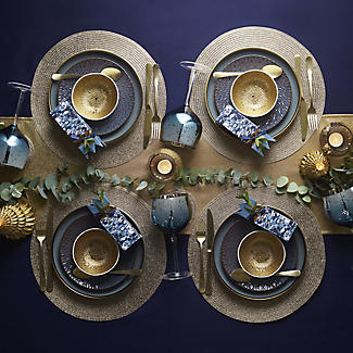 2 Circular Ribbed Metallic Gold Place Mats 38cm Dia alt image 3