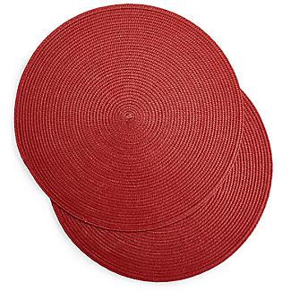 2 Circular Ribbed Red Place Mats 38cm Dia