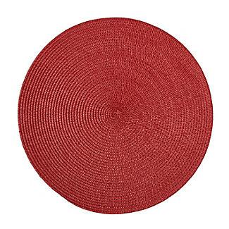2 Circular Ribbed Red Place Mats 38cm Dia alt image 2