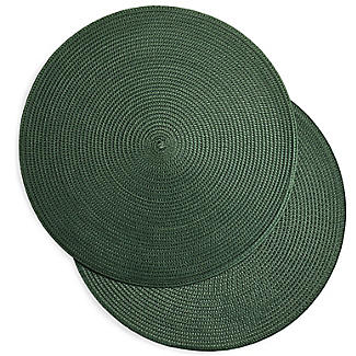 2 Circular Ribbed Green Place Mats 38cm Dia