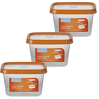 Colour Match Lidded Food Storage Containers 300ml x 3