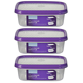 Colour Match Lidded Food Storage Containers 375ml x 3