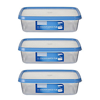 Colour Match Lidded Food Storage Containers 2L x 3