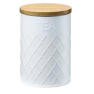 Typhoon Embossed White Tea Storage Canister with Bamboo Lid