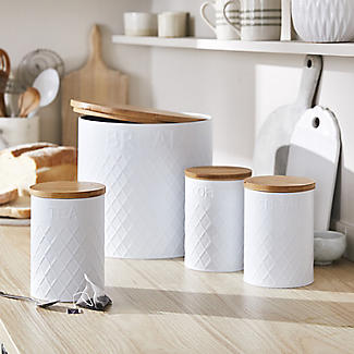 Typhoon Embossed White Tea Storage Canister with Bamboo Lid alt image 2