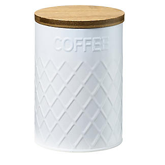 Typhoon Embossed White Storage Canister with Bamboo Lid – Coffee