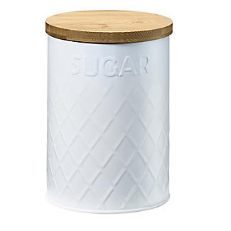 Typhoon Embossed White Storage Canister with Bamboo Lid – Sugar