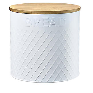 Typhoon Embossed White Bread Bin with Bamboo Lid