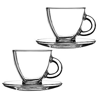 2 Ravenhead Glass Cappuccino Cups and Saucers 200ml