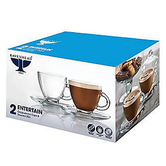2 Ravenhead Glass Cappuccino Cups and Saucers 200ml alt image 2