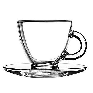 2 Ravenhead Glass Cappuccino Cups and Saucers 200ml alt image 3