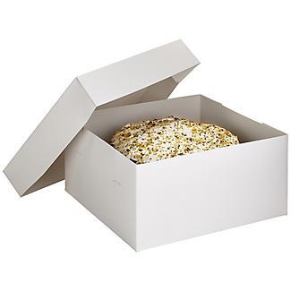 20cm Square White Flat-Pack Cardboard Cake Gift Box & Lid