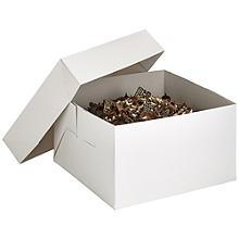 25cm Square White Flat-Pack Cardboard Cake Gift Box & Lid
